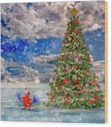 Happy Christmas Parrot Wood Print