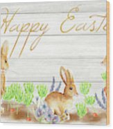Happy Easter Bunnies (rectangle) Wood Print