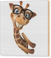 Happy Giraffe Wood Print