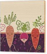 Happy Root Vegetables Horizontal Wood Print