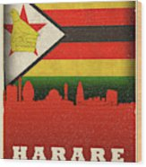 Harare Zimbabwe World City Flag Skyline Wood Print