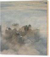 Harborview In The Clouds Wood Print