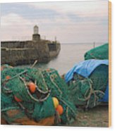 harbour pier and fishings nets at Pittenweem, Fife Wood Print