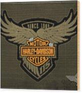 Harley Davidson Old Vintage Logo Fuel Tank Motorcycle Brown Background Wood Print
