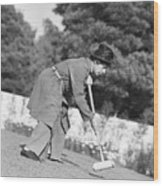 Harpo Marx Playing Croquet Wood Print
