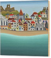Hastings From The Sea Wood Print