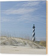 Hatteras Lighthouse And The Dunes Wood Print