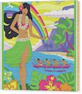 Hawaii Poster - Pop Art - Travel Wood Print