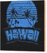 Hawaii Sunset Beach Vacation Paradise Island Blue Wood Print
