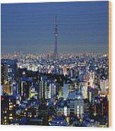 Hazy Skyline With Tokyo Sky Tree Wood Print