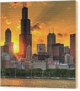 Hdr Chicago Skyline Sunset Wood Print