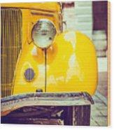 Headlight Lamp  Vintage Car - Vintage Wood Print
