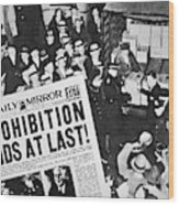 Headline Declaring The End Of Prohibition, 6th December, 1933 Wood Print