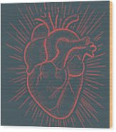 Heart On Red Wood Print