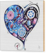 Heart Racing A Mad Shredder Biking Cycling Painting By Megan Duncanson Wood Print
