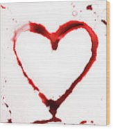 Heart Shape From Splaches And Blobs Wood Print
