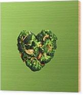 Heart Shaped Broccoli On Green Wood Print