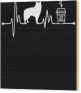 Heartbeat Ekg Pulse Alaskan Malamute Coffee Lover Wood Print