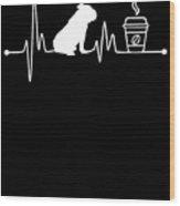 Heartbeat Ekg Pulse Bulldog Coffee Lover Wood Print