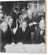 Herbert Hoover Meeting With French Wood Print