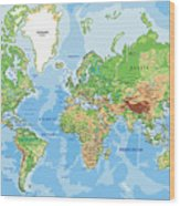 Highly Detailed Physical World Map With Wood Print