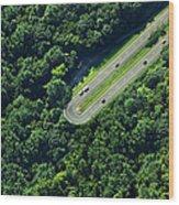 Highway U-turn In Forest Wood Print