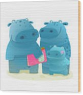 Hippo Family Mother Father And Kid With Wood Print