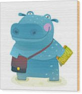Hippopotamus Kid Student With Book And Wood Print