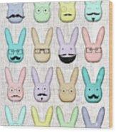 Hipster Bunnies Wood Print