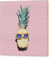 Hipster Pineapple Fashion Accessories Wood Print