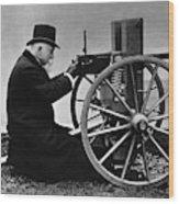 Hiram Maxim Firing His Maxim Machine Gun - 1884 Wood Print