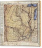 Historical Map Hand Painted Arkansaws Territory Wood Print