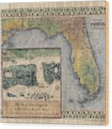 Historical Map Hand Painted St. Augustine Wood Print