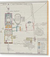 Historical Map Of The Temples Wood Print