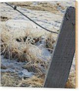 Hoar Frost On A Fence Along Turnagain Arm On The Seward Highway Alaska Wood Print