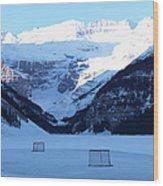 Hockey Net On Frozen Lake Wood Print