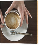 Holding Cappuccino Wood Print