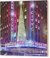 Holiday Season At Radio City Music Hall  Wood Print