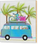 Holiday Summer Trip Bus For Beach Wood Print
