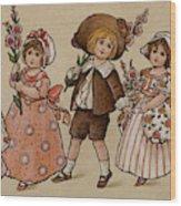 Hollyhocks, Victorian Card Wood Print