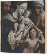 Holy Family With Elisabeth And John The Baptist  Wood Print