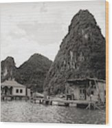 Homes On Ha Long Bay Boat People  Wood Print