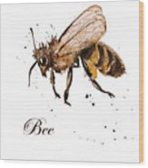 Honey Bee, Watercolor, Isolation On A Wood Print
