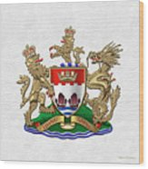 Hong Kong - 1959-1997 Coat Of Arms Over White Leather  Wood Print