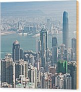 Hong Kong Iconic Skyscraper City Wood Print