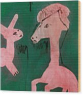 Horse And A Rabbit Wood Print
