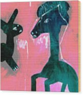 Horse And Rabbit On Pink Wood Print