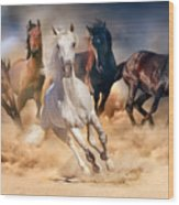 Horse Herd Run In Desert Sand Storm Wood Print