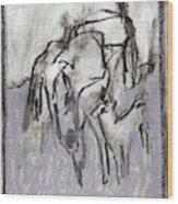 Horse In A Field Wood Print