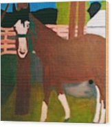 Horse On A Ranch Wood Print